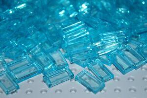 LEGO 75 x TRANS CLEAR LIGHT BLUE FLAT TILES BRICKS 1x2 No 3069/3069b/35386