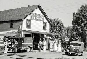 Vintage  Sohio Oil Gas Service Station photo 1930  Atlanta area Coca Cola Ad