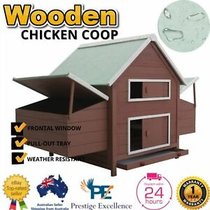 Chicken Coop Wooden Large House Hen Hutches Outdoor Waterproof Nesting Poultry