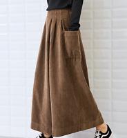 Fashion Womens Corduroy High Waist Cropped Trousers Retro Casual Wide Leg Pants