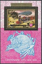 1975 LAOS Bloc Mi 64A ** OR UPU, train, Zeppelin, 1974, superbe, Gold Sheet MNH