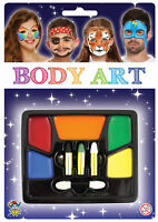 Body Art Face Paint Tray - 8 Colours - Make Up Stage Kit Party Kids Set