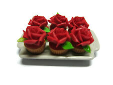 6 Cupcake Red Rose Top on Tray Dollhouse Miniatures Food  Bakery Valentine Day