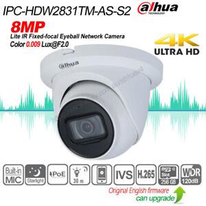 Dahua 4K 8MP Starlight IVS IR IP67 WDR MIC H.265 IP Camera IPC-HDW2831TM-AS-S2