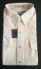 Usa Vintage Wrangler Mens Pearl Snap Light Pink M 15.5 Cowboy Cut Shirt