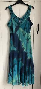 M&S Per Una Sz 14L Turquoise Blue Summer Holiday Bias Cut Sun Dress