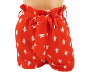 Gibson X Living in Yellow Women's Ivy Paperbag Tie Waist Shorts Red White  PM
