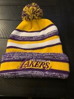 Los Angeles Lakers Yellow/Purple Knit Beanie with Pom NBA cuffed  New
