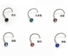 20pcs Lots Nose Studs Body Piercing Screw Crystal Ring Bone Bar Pin Mix Color