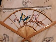 Vintage Bamboo Hand Fan Hand Painted Fabric