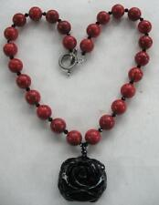 FABULOUS VINTAGE ARTISAN HANDCARVED BLACK ONYX ROSE PENDANT CORAL BEADS NECKLACE