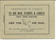 More details for australia booklet 1935 air 3/- black on pale green cover sb24a very rare
