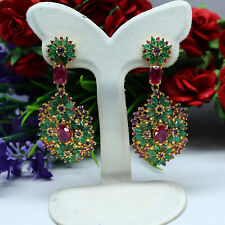 NATURAL RED RUBY, GREEN EMERALD & PURPLE AMETHYST LONG EARRINGS 925 SILVER
