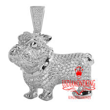 Sterling Silver Bulldog Charm Custom Pendant Mens 14K White Gold Over Genuine