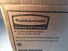 "Lot Of 6 Rubbermaid FG350700 White Food Tote Box 18"" L X 12 ""W X 3.5"" D"