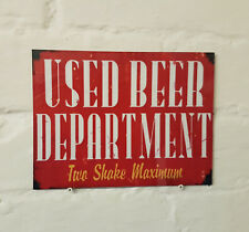 Used beer department sign Retro metal Aluminium  vintage beer signs bar pub cave