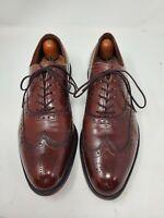 Allen Edmonds Mens 8.5B Burgundy Leather Chester Wing Tip Oxford Dress Shoes