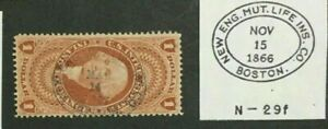 US #R69c w/NEW ENGLAND MUTUAL LIFE INSURANCE Co [Boston] Handstamp
