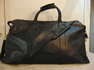 Vintage COACH 0502 Black Leather Cabin Weekender Carry-on Duffle Travel Bag