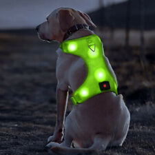 New Medium Green LED Dog Harness Light Up Adjustable Flashing Safety Belt Collar