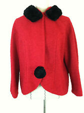 Vintage 50s women red faux black fur swing jacket coat texture fabric  S M