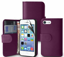 PURPLE Plain Wallets Case Cover with Card Slots and clip for Apple iPhone 5/5S