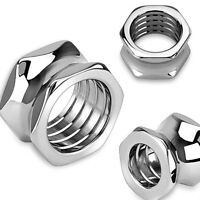 PAIR Hexagon Bolt Tunnels Screw 316L Surgical Steel Double Flare Plugs Gauges