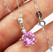 """Zirconia Pendant Necklace jewellery 18"""" Stunning 925 Sterling Silver,Pink Cubic"""