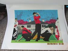 "Rick Rush Serigraph Original ""The Masters of Augusta""  Tiger Woods 1997 Winner"