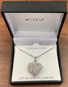 """2ct TW Diamond Pave Heart Locket Sterling Silver Pendant 18"""" Necklace BOXED"""