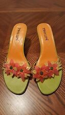 TWO LIPS Multicolor Leather Floral High Heel Strappy Slides Sandals Size 8.5M