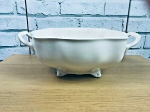 """Large Cream Colour Twin Handled 4.5"""" Deep Tureen Serving Dish Fluted Footed"""