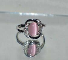 GLAMOROUS 1.57ct NATURAL OPAL CATS EYE PLATINUM OVERLAY STERLING SILVER RING