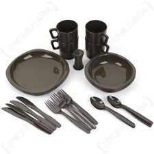 26 Piece Camping Dinner Set - Olive Drab - Hiking Picnic Outdoor Plastic NEW