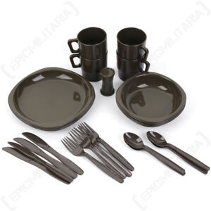 26 Piece Camping Dinner Set Olive Drab - Camping Walking Hiking Family Eating