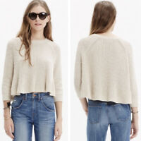 Madewell Cream Linen Blend Thick Knit Swing Sweater Natural Cropped Size Xsmall