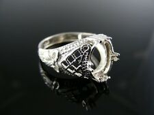 R135 RING SETTING STERLING SILVER, SIZE 7, 9X7 MM OVAL CAB STONE
