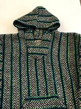 Baja Joe Unisex Pullover Hoodie M Striped Woven Mexican Eco Friendly Long Sleeve
