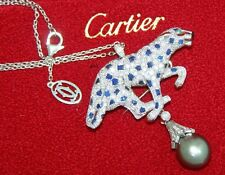 RARE CARTIER JEWELED PANTHER PENDANT BROOCH  DIAMOND SAPPHIRE EMERALD ONYX PEARL