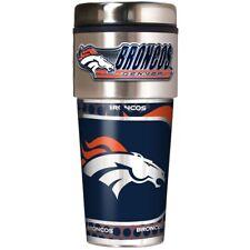 NFL Denver Broncos Steel Travel Tumbler Coffee Mug with Hi-def Metallic Graphics