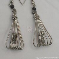 Maasai Market Africa Kenya Jewelry Silver Wire Masai Bead Spiral Earrings 617-25