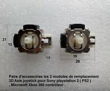 2 modules remplacements 3D Axis joystick Sony PS2 Microsoft Xbox 360 ...  .B25.5