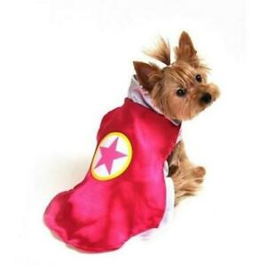 Dog Costume Pink Superhero with Star Cape for Cute Small Dogs - Size Small