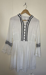 BNWOT BINNY Ladies Plantation Dress White Cheesecloth Buttons long Sleeves - S 8