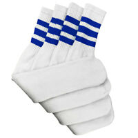 "4 Pairs White Tube Socks with Blue Stripe Cotton 24"" Inches Long"