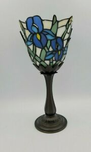 PartyLite IRIS Tealight Lamp P8734 Tiffany Style Blue Glass Holder Votive Candle