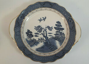 Two Eared Cake Plate - Royal Doulton Booths Real Old Willow Majestic Collection