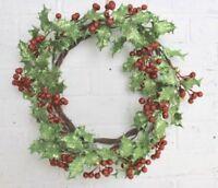 GISELA GRAHAM CHRISTMAS RED GREEN GLITTERED BERRY LEAF HOLLY WREATH