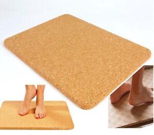 60x45cm Cork Bath Mat Heat Resistant Non Anti Slip Luxury Thick Mats Rectangular