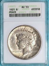 1921 AU-53 Peace Dollar Silver  Almost Uncirculated $1